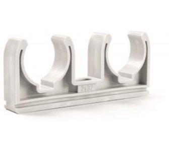 Plastová dvojpríchytka biela D2x16