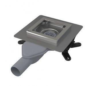 Podlahová vpusť nerezová extra-nízka 130×130 mm bočná, bez mriežky, vodná zápachová  uzávera