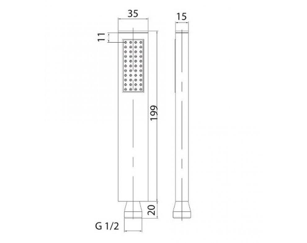 ručná sprcha 1-polohová, kovová, CORNER L
