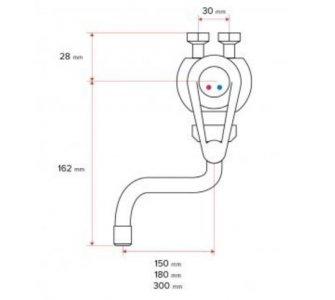 HAKL trojcestná nízkotlaková stenová drezová batéria pre ohrievače PM páková, ramienko 30cm