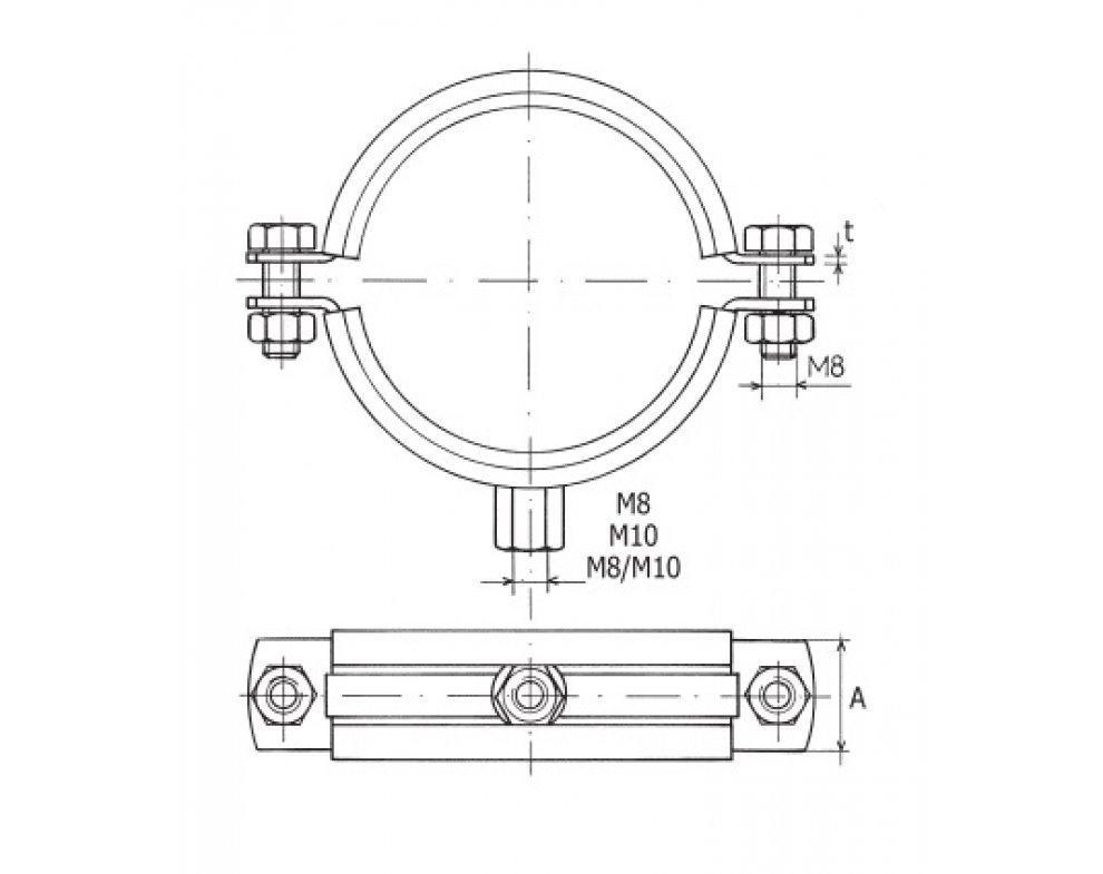 objímka dvojskrutková TUPD M10 315mm, rozsah upínania 314-319