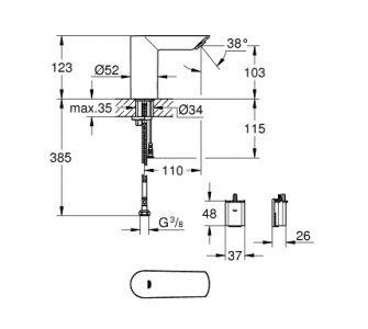 batéria umývadlová stojánková elektronická, BAU COSMOPOLITAN E