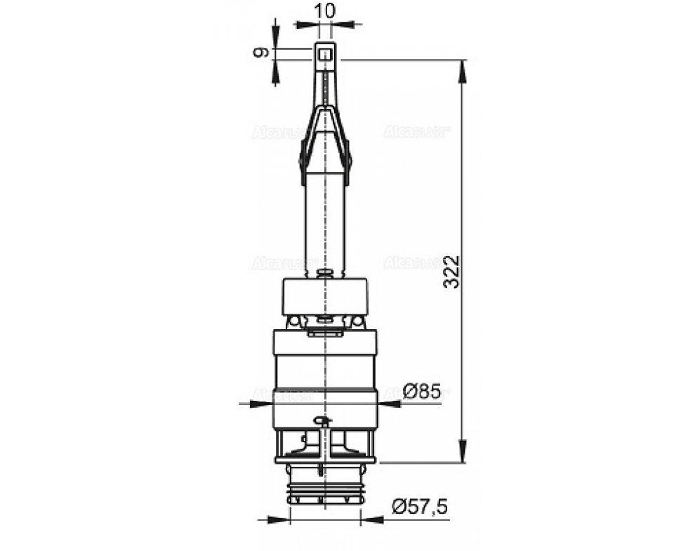 Vypúšťací ventil pre znížené predstenové inštalačné systémy výšky 850 mm