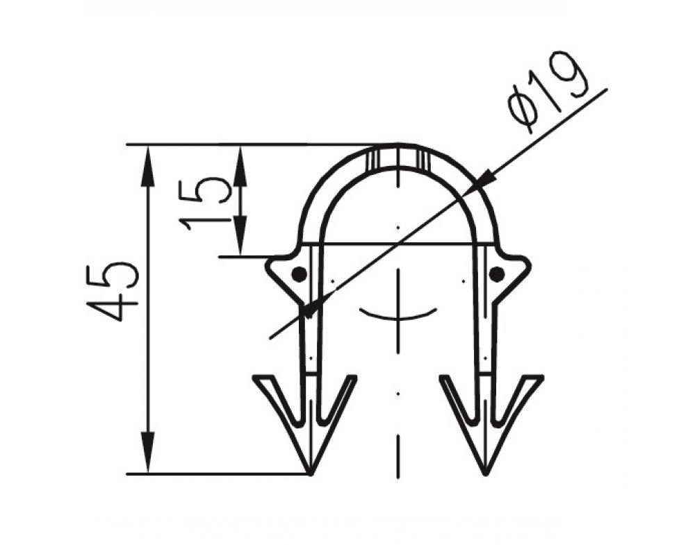 Podlahová príchytka typ D (pr.19mm) pre tacker