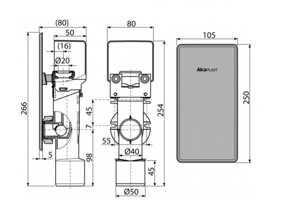 Sifón pre odkvapkávajúci kondenzát podomietkový, nerez DN40 a DN50
