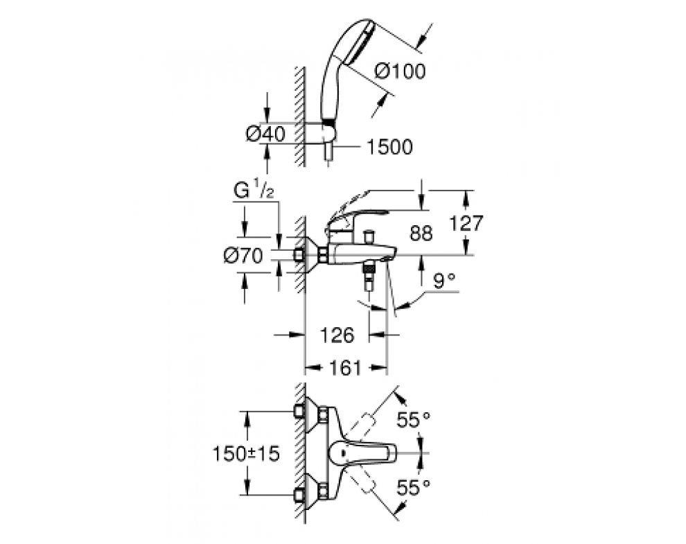 batéria vaňová stenová s príslušenstvom,  EUROSMART