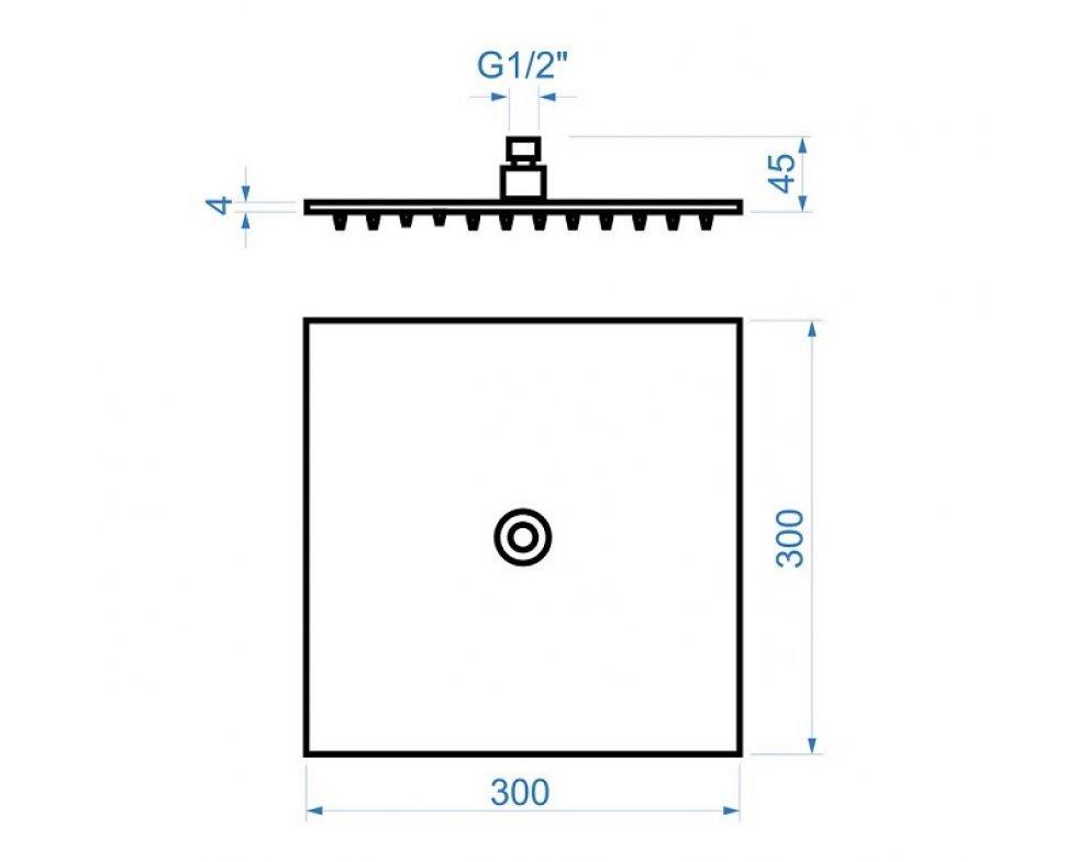 sprchová hlavica štvorcová, 300 × 300 mm, nerez, SLIM