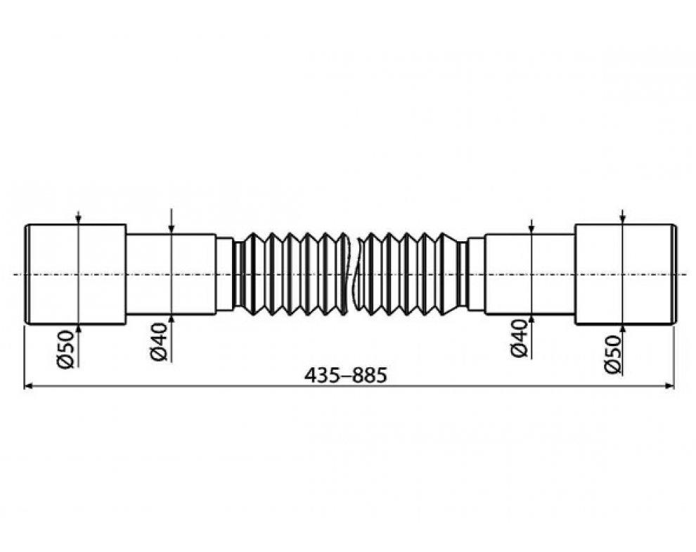 Flexi pripojenie 50/40×40/50 plast, nastaviteľná dĺžka 435-885 mm