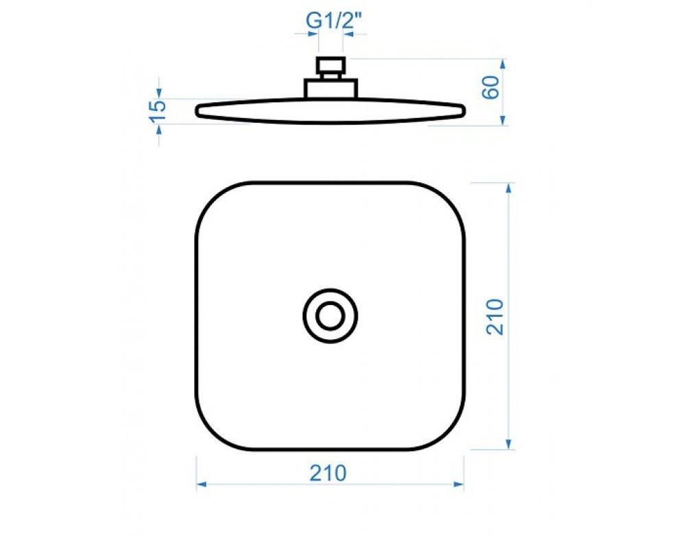 sprchová hlavica štvorcová, 210 × 210 mm, plast, chróm-biela, BAHIA