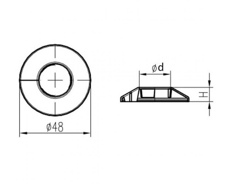 krytka trubková jednoduchá chróm 16mm