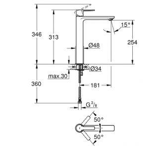 batéria umývadlová stojánková bez odtok. garnitúry, XL, LINEARE