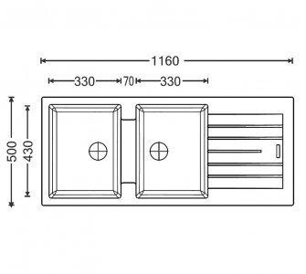 SET drez granit Sinks PERFECTO 1160 DUO Metalblack + batéria VITALIA GR