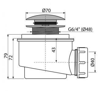 odtoková súprava click-clack, pre odtok vody zo sprchových vaničiek