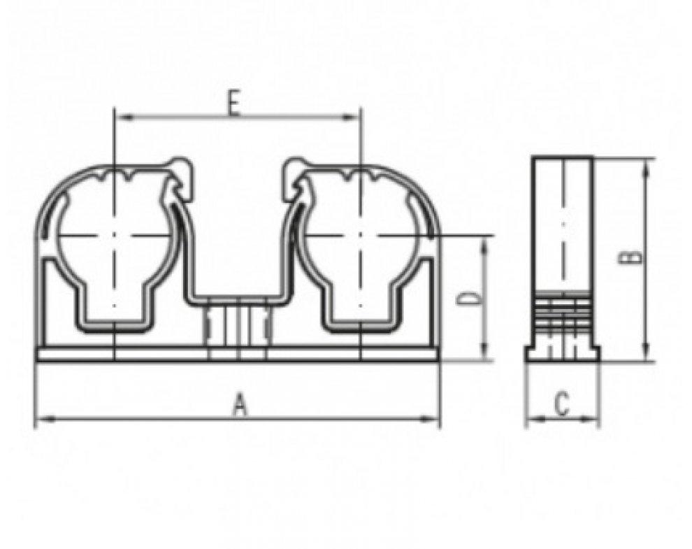 Plastová dvojpríchytka D2x28 s klipem, biela