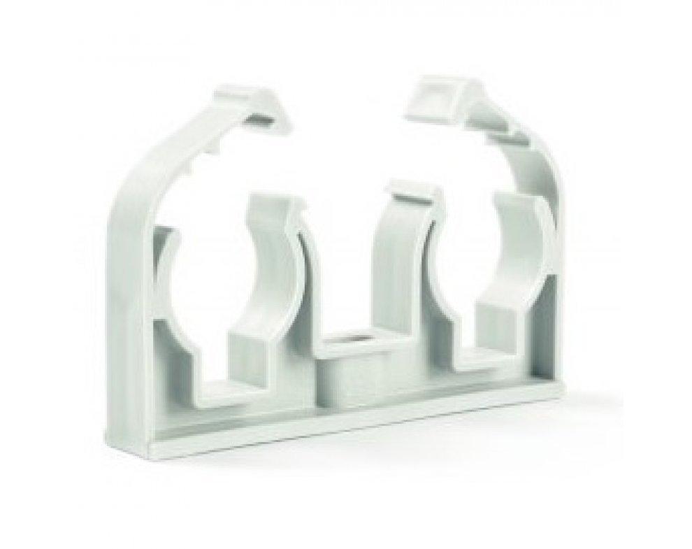 Plastová dvojpríchytka D2x18 s klipom biela