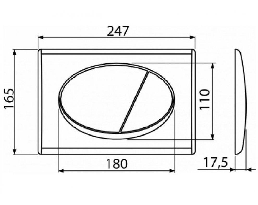 Tlačítko pre duálne splachovanie chróm kombinácia - doska lesklá + tlačítko matné