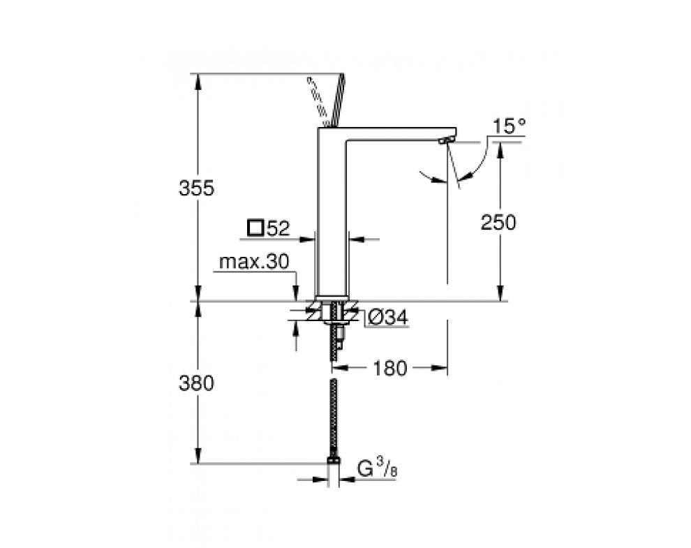 batéria umývadlová stojánková s odtok. garnitúrou, XL, Eurocube Joy