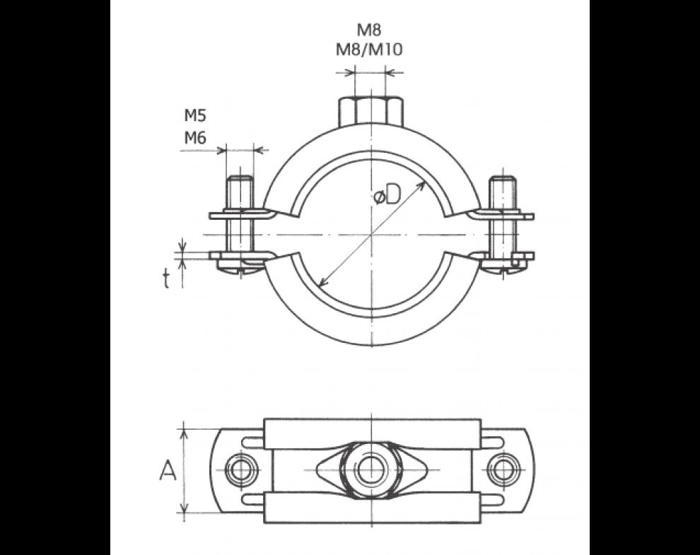 objímka dvojskrutková LUPDsE M8/M10 48-53mm, 6/4