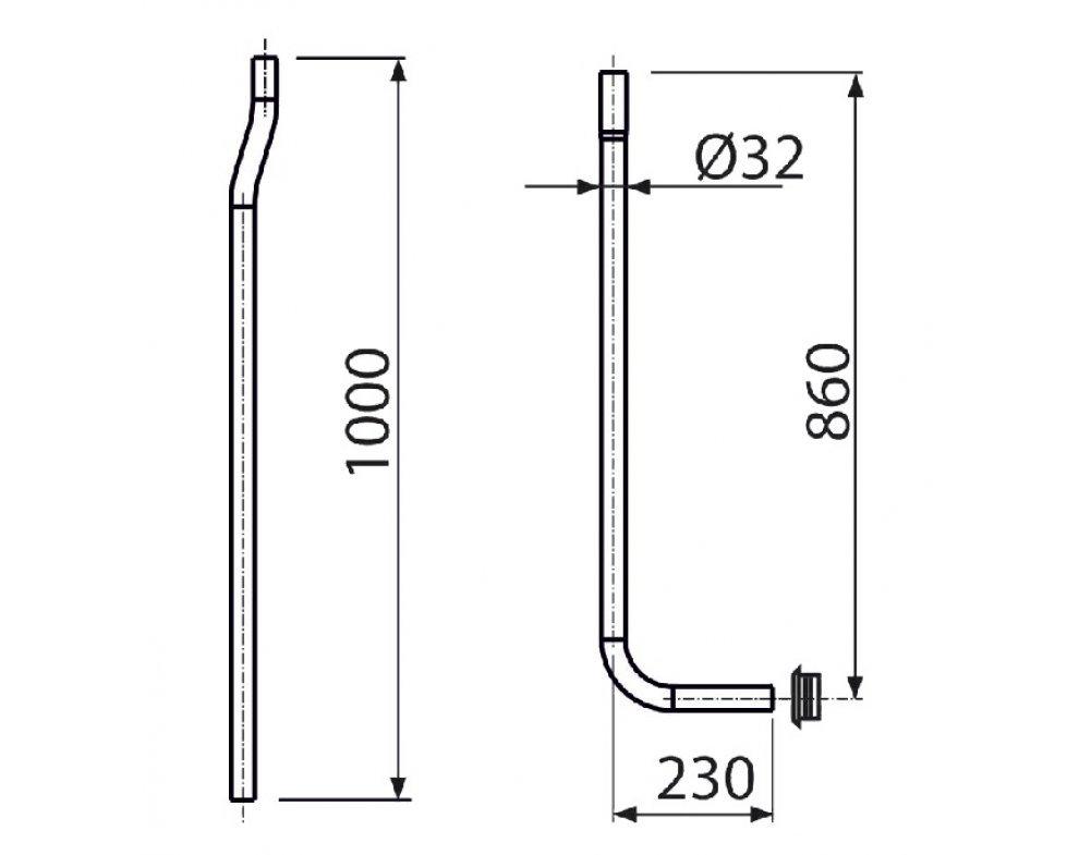 trubica splachovacia delená 32 mm + vložka vrapová