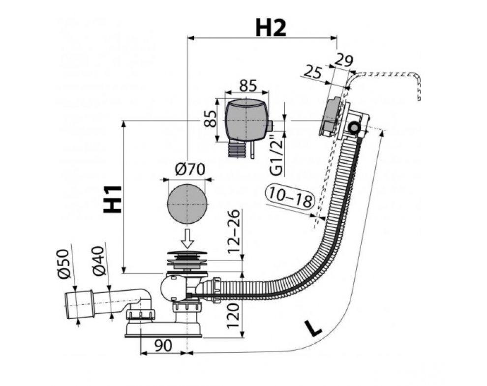 Sifón vaňový automat s napúšťaním prepadom pre hrubostenné vane, kov