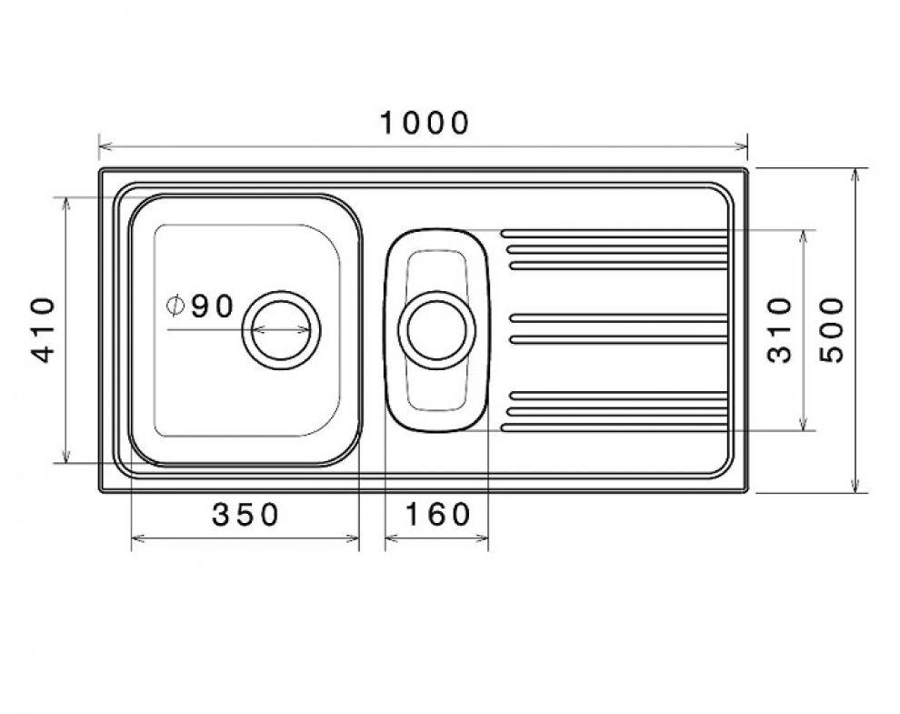 drez nerezový Sinks STAR 1000.1 V 0,6mm matný