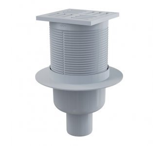 Podlahová vpusť 105×105/50 mm priama, mriežka šedá, vodná zápachová uzávera
