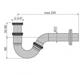 sifón bidetový DN32 kov