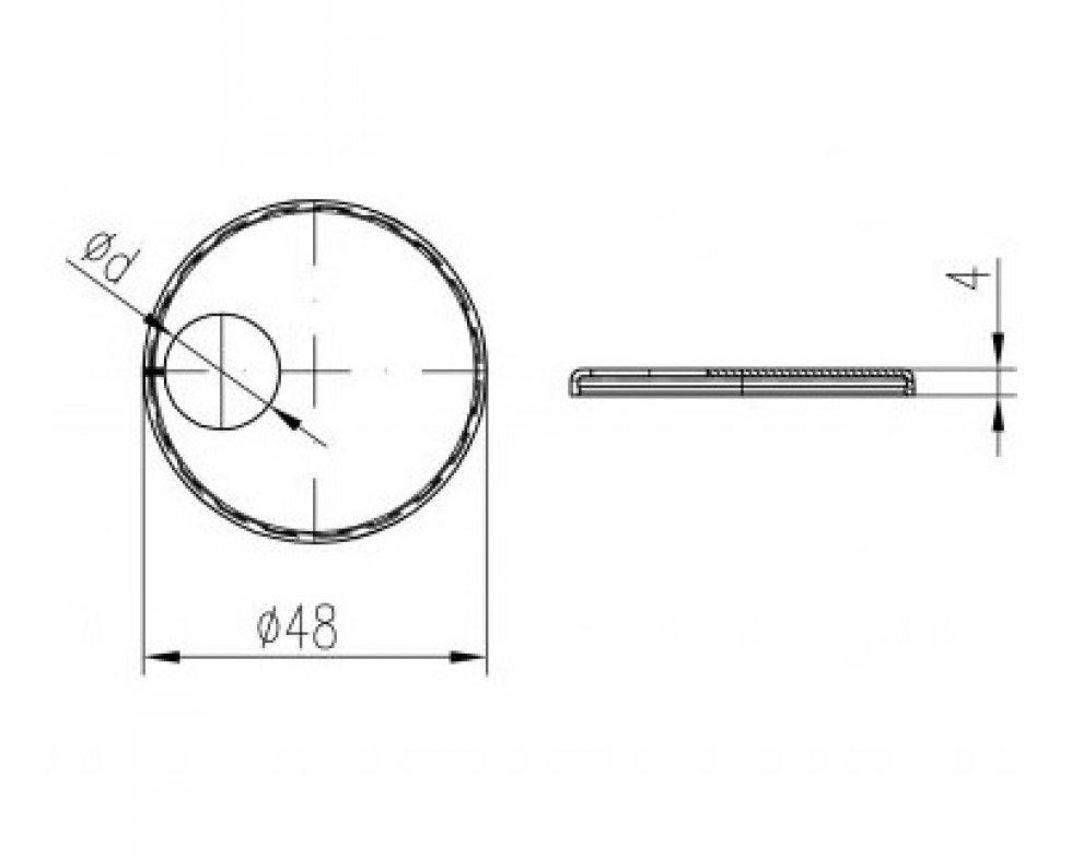 krytka trubková jednoduchá excentrická chróm D18mm