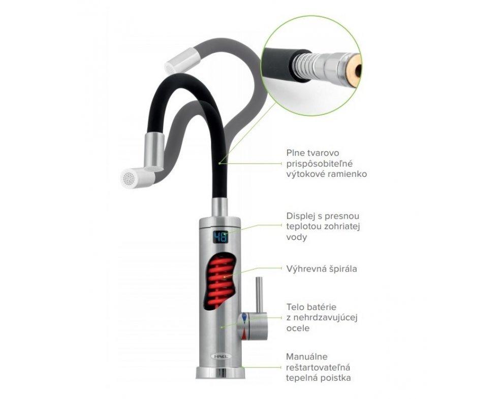 Elektrická priamoohrevná vodovodná batéria, flexibilné ramienko, čierna/strieborná