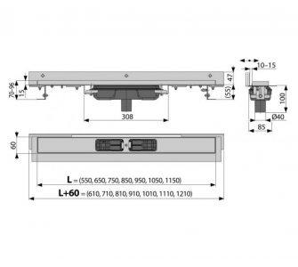 Flexible Low - Podlahový žľab s okrajom pre perforovaný rošt, s nastaviteľným límcom ku stene, zvislý odtok, 750mm