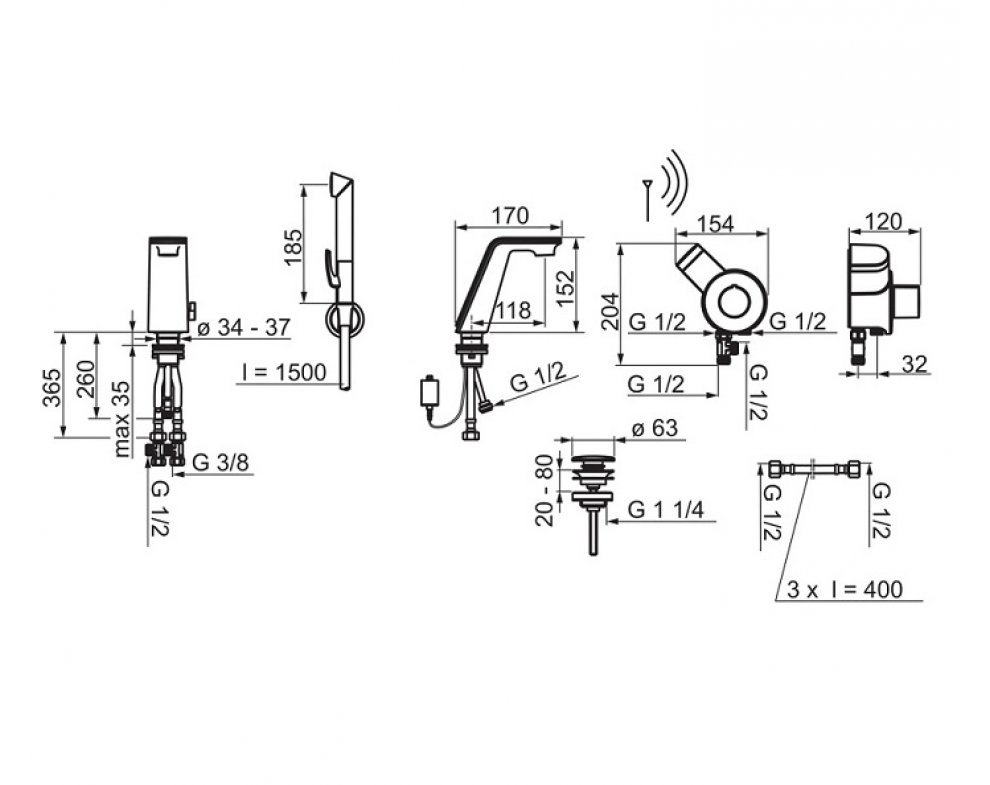 batéria elektronická umývadlová, s funkčnou sprchou,Tiptronik, ALLESI SENSE, chróm