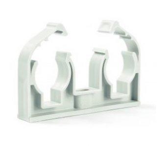 Plastová dvojpríchytka D2x15 s klipom, biela
