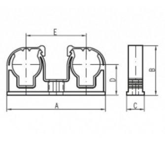 Plastová dvojpríchytka D2x22 s klipom, biela