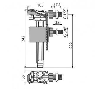Napúšťací ventil bočný, univerzálny, pre predstenové inštalačné systémy
