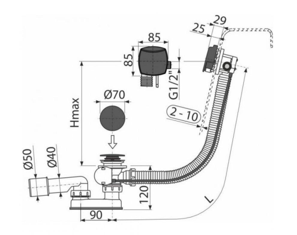 Sifón vaňový automat s napúšťaním prepadom, čierná-mat