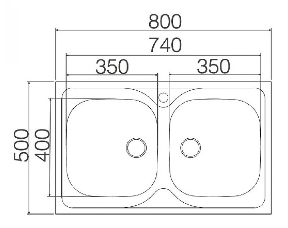 drez nerezový SINKS CLASSIC 800 DUO V 0,6mm matný