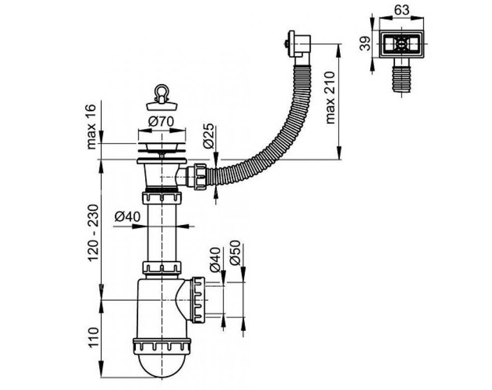 drezový sifón 50/40 s nerez. mriežkou pr. 70 a flexi prepadom