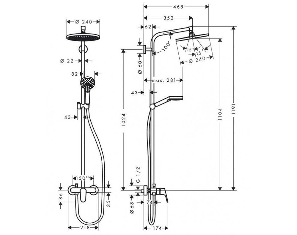 sprchový systém so stenovou batériou, CROMETTA S Showerpipe 240, chróm