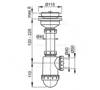 drezový sifón 50/40 s nerez. mriežkou pr. 115 a flexi prepadom