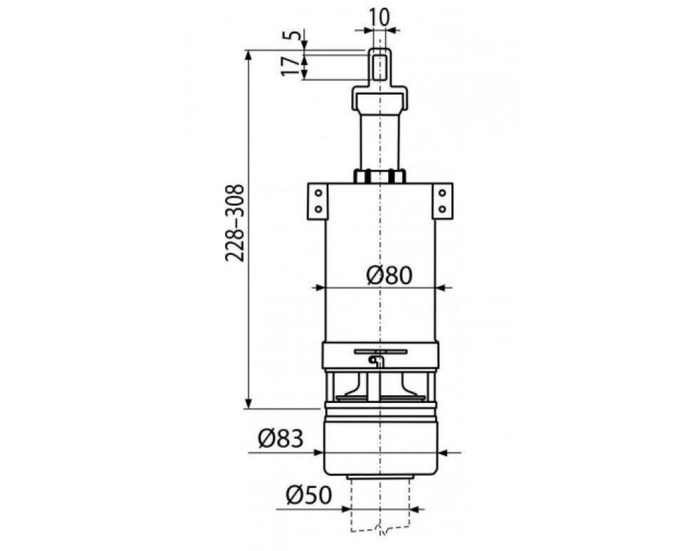 splachovací ventil pre nízko položenú plastovú nádržku
