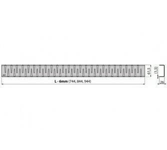 Rošt pre líniový podlahový žľab, nerez-mat 750mm