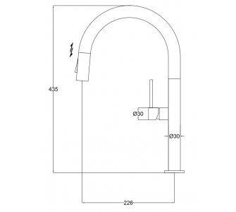 batéria AQS drezová stojanková s výsuvnou sprchou, celonerezová, STEEL SLIM S