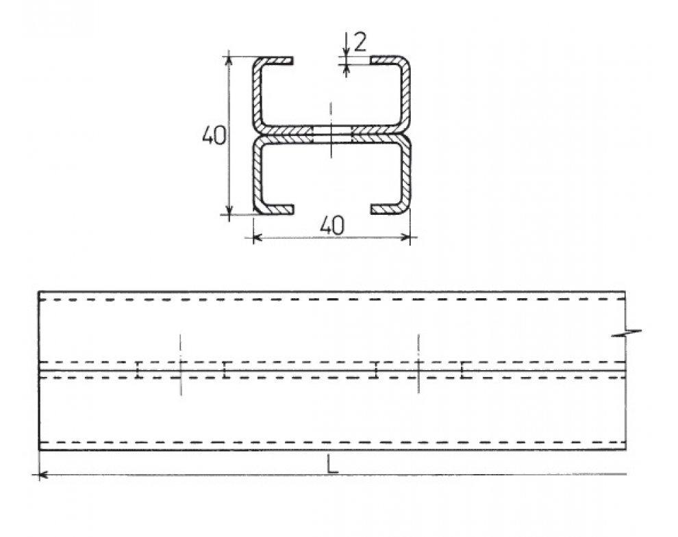 nosník 2C 40x40, l - 1500mm zn.