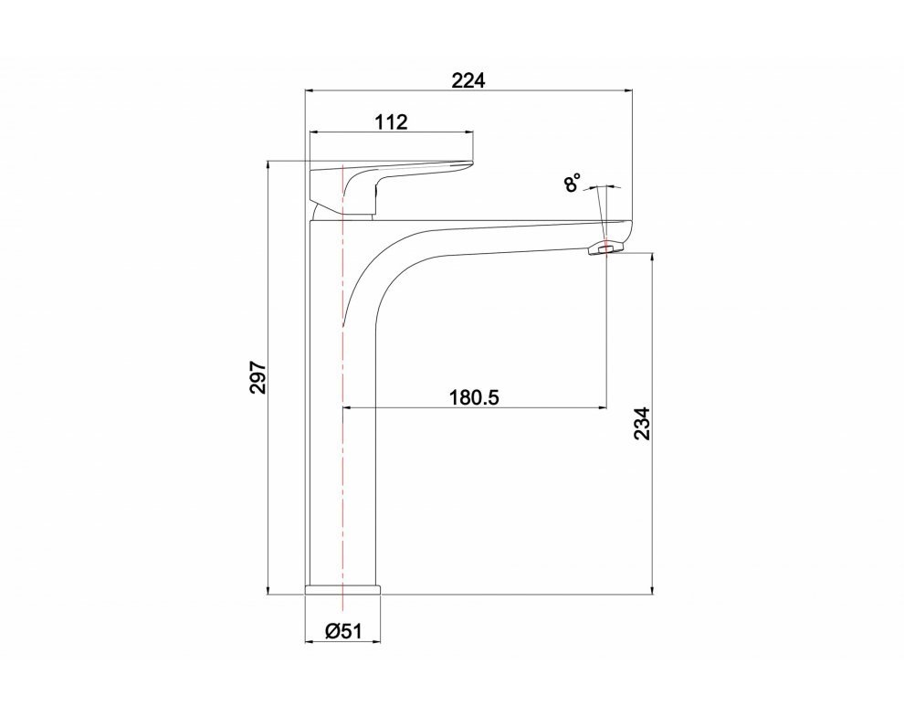 batéria AQS umývadlová stojanková vysoká, bez odtok. garnitúry, DAKOTA