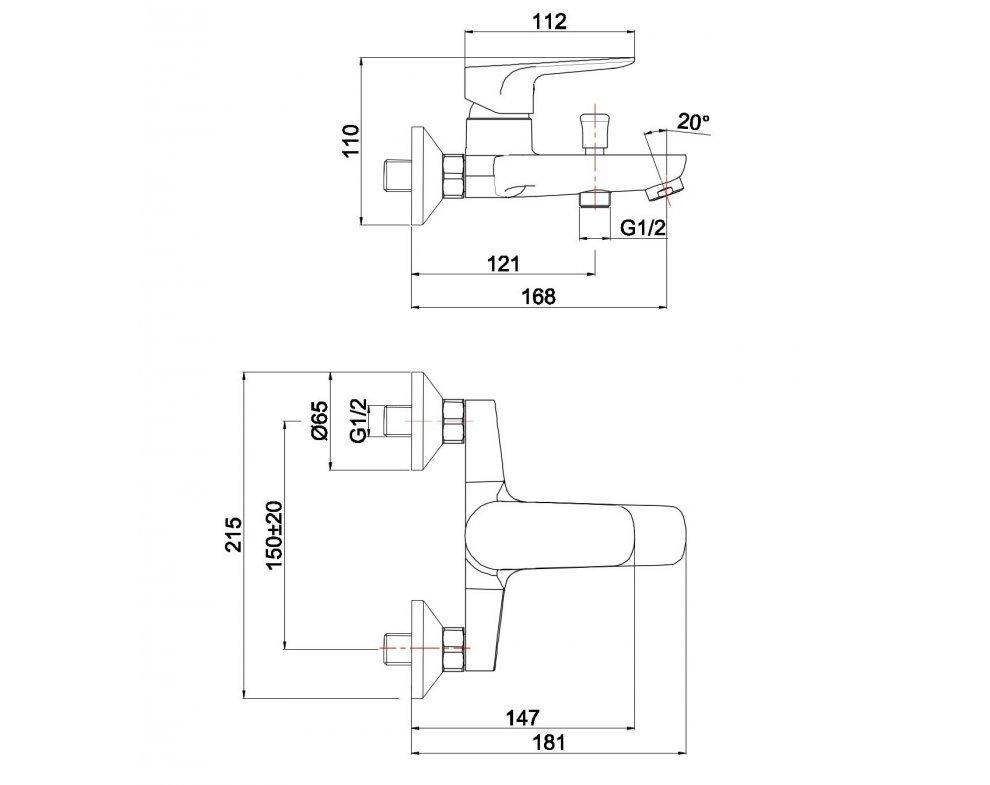 batéria AQS vaňová stenová bez príslušenstva, DAKOTA