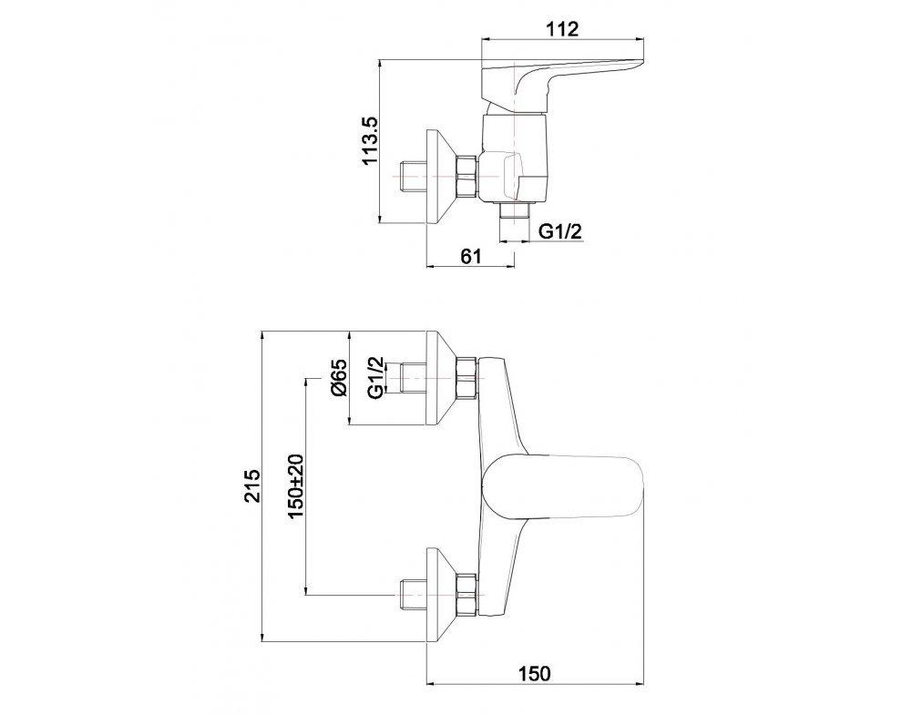 batéria AQS sprchová stenová bez príslušenstva, DAKOTA