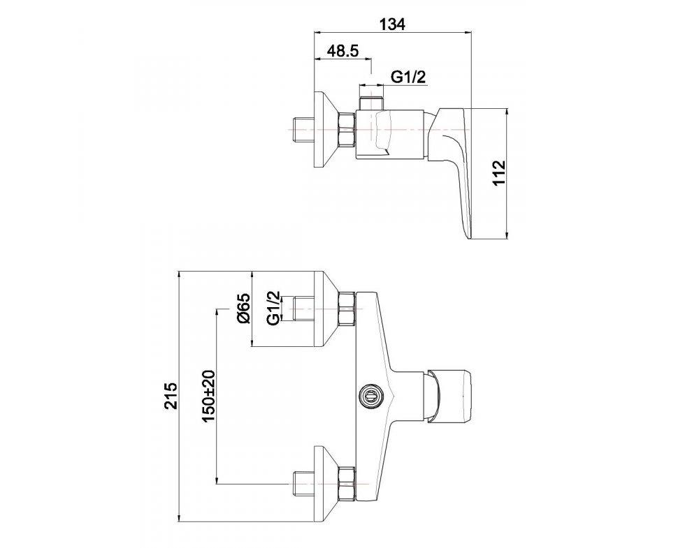 batéria AQS sprchová stenová bez príslušenstva s horným vývodom, DAKOTA