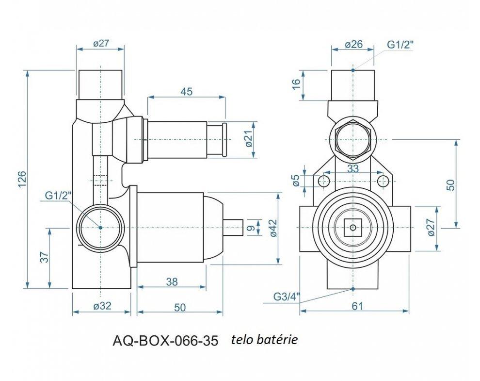 batéria AQS sprchová podomietková pre 2 odberné miesta, s AQ-boxom, DAKOTA