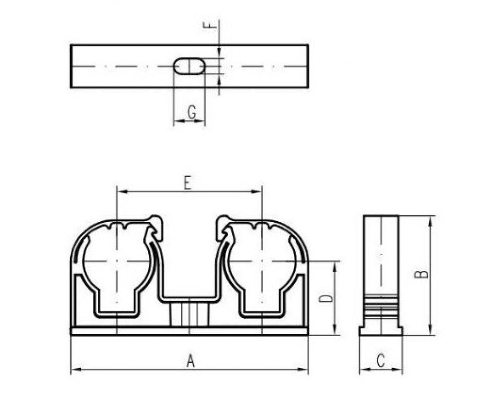 Plastová dvojpríchytka s klipom šedá 2x25