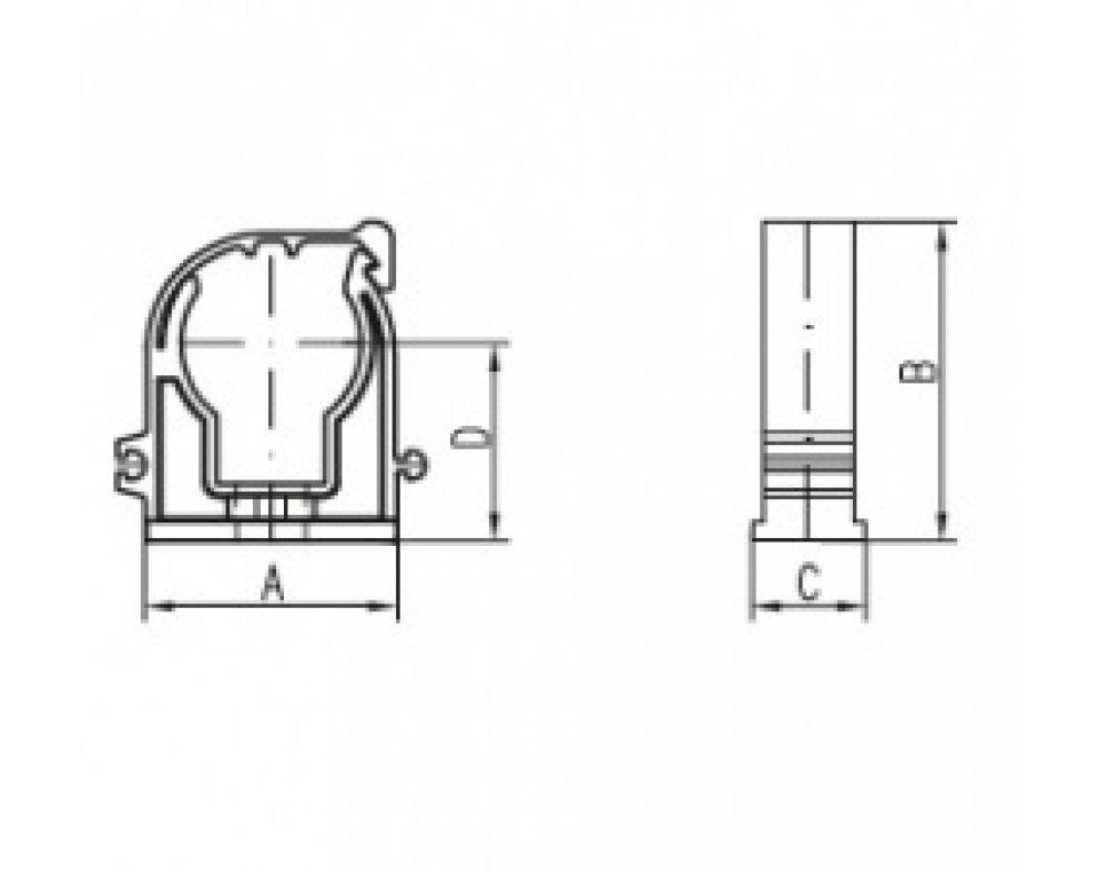 Príchytka D28 s klipom biela